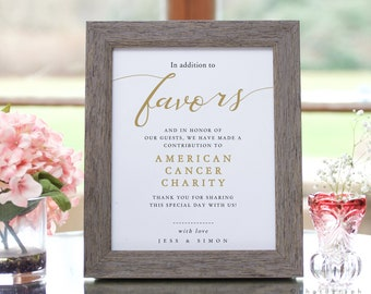 """LucyGold - In addition to Favors, In Lieu of Favours, Printable Wedding Sign, Templates in 8x10"""" and 11x14"""", Corjl template, FREE demo"""