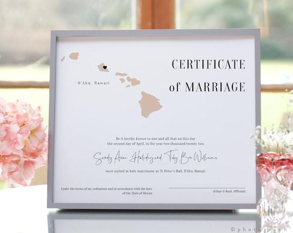 Destination - Hawaii Certificate of Marriage, Wedding in Hawaii Marriage Certificate Template 3 Sizes, Keepsake, Corjl Templates, FREE Demo