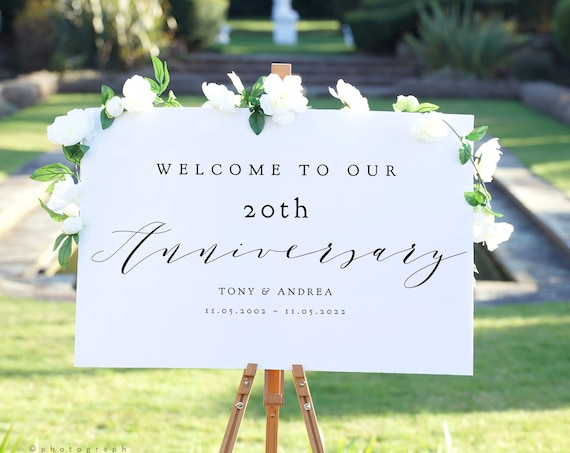 """20th Anniversary Welcome Sign, Printable 20th Anniversary or any other number, DIY Printable, """"Wedding"""" 4 sizes, Corjl Template, FREE Demo"""
