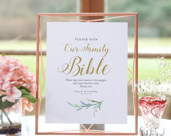 """Please sign our family bible, printable guest book sign, 8x10"""", Greenery, Wedding Signage. Corjl Template, FREE Demo"""