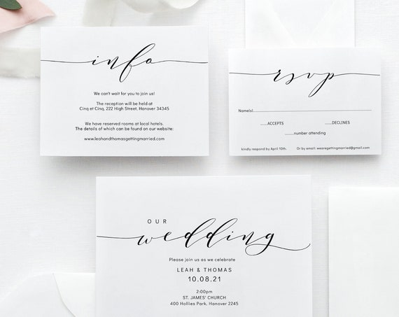 "Wedding Invitation Template Set, Printable wedding invitation suite, DIY invitations, ""Wedding"", Corjl FREE Demo"