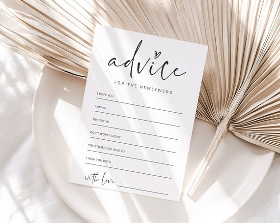 Advice Cards for Newlyweds, Bride And Groom Printable Advice Cards Wedding, Bridal Shower Advice, 2 sizes, Corjl Template, FREE demo | 86