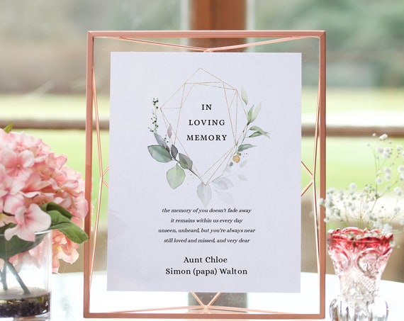 "Leaf & Gold - In Loving Memory Wedding Sign, In Memory of Loved Ones, Greenery Wedding Signs, 5x7"" and 8x10"", Corjl Templates, FREE Demo"