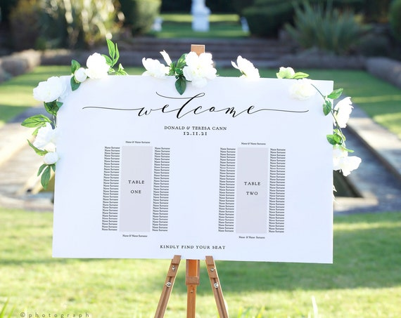 "Two Table Seating Plan, Printable Banquet Table Template, 2 Long Tables, ""Wedding"", 18x24"" 24x36"", A1, A2 sizes, Corjl Template, FREE Demo"