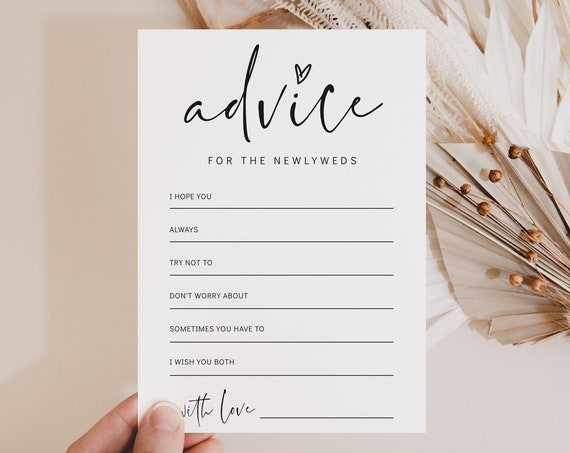 Advice For The Bride And Groom Card, Printable Advice Cards Wedding, Bridal Shower Advice Cards, 2 sizes, Corjl Template, FREE demo | 86
