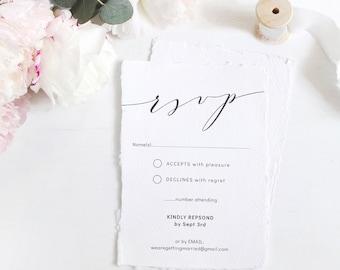 "Romantic - Elegant Wedding RSVP Cards, Modern Wedding Response, Printable Enclosure cards, 4x5.5"" & A6, Corjl FREE Demo"