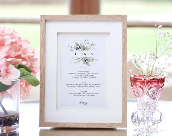 Leaf & Gold - Drinks Bar Menu, Printable Wedding Bar Sign in 6 Sizes, Bar Menu Template, Corjl Templates, FREE Demo