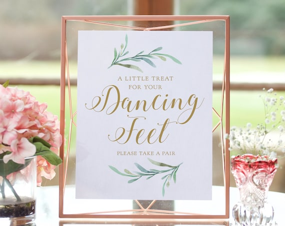 """A Little Treat for your Dancing Feet, Please Take a Pair, flip flop, Printable Sign, 2 versions included 8x10"""" """"Greenery"""" Download and Print"""