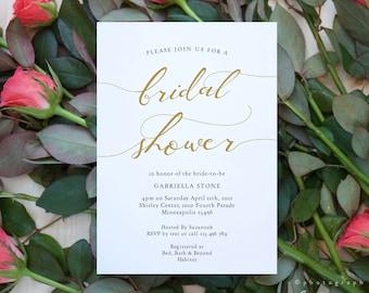 LucyGold - Gold Bridal Shower Invitation, Printable Bridal Shower Template, Gold Wedding Shower, 3 sizes, Corjl Template, FREE Demo