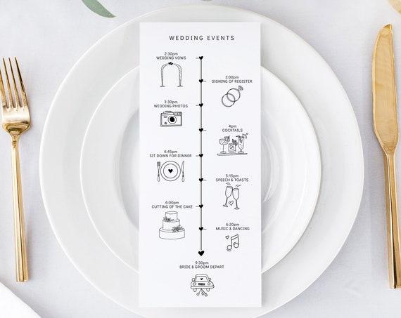 "Printable Wedding Timeline Template, Wedding Program & Timeline, 4x9"", 5x7"", Event Timeline, Wedding Itinerary ""Wedding"" Corjl FREE Demo"