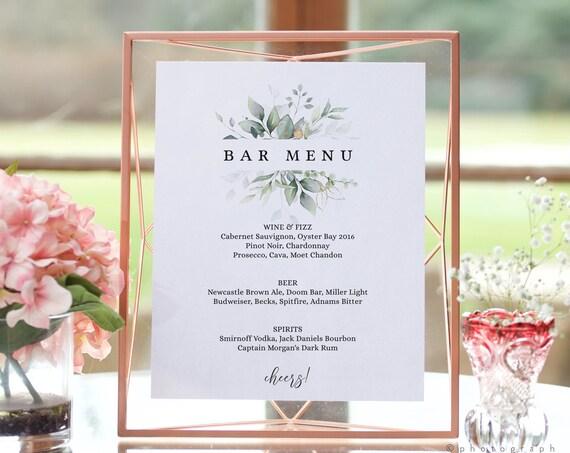 Leaf & Gold - Printable Bar Menu Template, Printable Wedding Drinks Sign in 6 Sizes, Bar Menu Template, Corjl Templates, FREE Demo