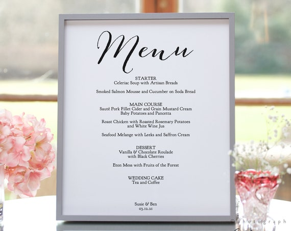 "Wedding Menu Template Printable Menu Template, 3 Sizes, ""Sweet Bomb"", Reception Menu Printable Editable Template, Corjl Template, FREE Demo"