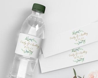 "Water Bottle Label, DIY Printable Wedding Water Bottle Labels, 2"", Greenery Printable Bottle Label template, Corjl Template, FREE Demo"