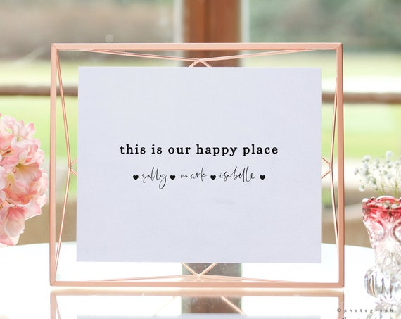 This Is Our Happy Place, Printable New Home Print, Wall Art, New Home Christmas Gift, Editable & Printable, Easy Corjl Templates, FREE Demo