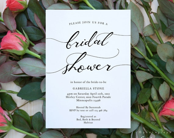 Lucy - Bridal Shower Invitation, Printable Bridal Shower Invite, Wedding Bridal Shower Template, 3 sizes, Corjl Template, FREE Demo