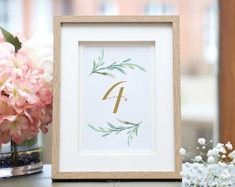 """Greenery wedding table numbers printable numbers in sizes 5x7"""" and 4x6"""", two per page table numbers, Corjl Template, FREE Demo"""