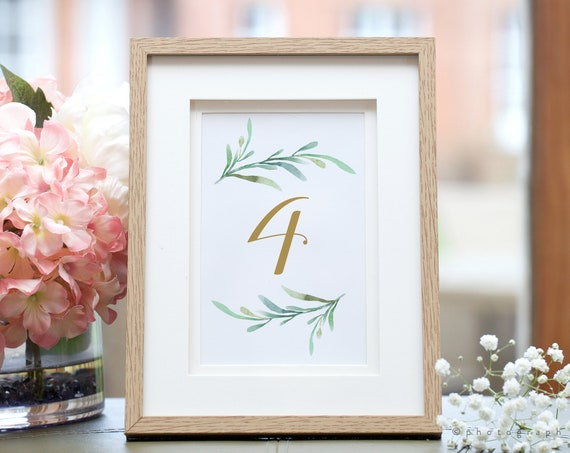 "Greenery wedding table numbers printable numbers in sizes 5x7"" and 4x6"", two per page table numbers, Corjl Template, FREE Demo"