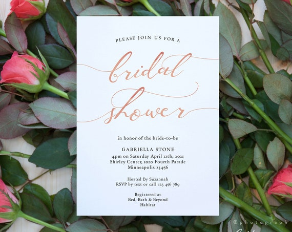 LucyRose - Rose Gold Bridal Shower Invitation, Printable Bridal Shower Template, Rose Gold EFFECT, 3 sizes, Corjl Template, FREE Demo