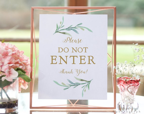 """Please Do Not Enter Sign, Printable No Entry Sign in 5x7"""", 8x10"""" and 16x20"""", Greenery Wedding Sign, Download and Print"""