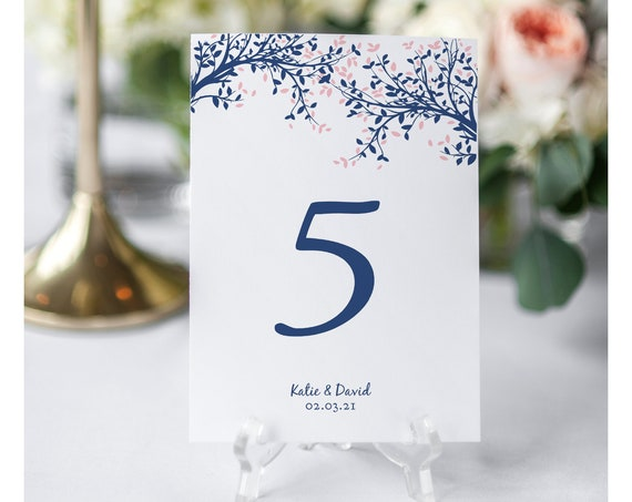 """Navy & Pink Tree Table Numbers, Navy Table Number Printables, Leaves, 5x7"""" and 4x6"""", Corjl FREE Demo"""