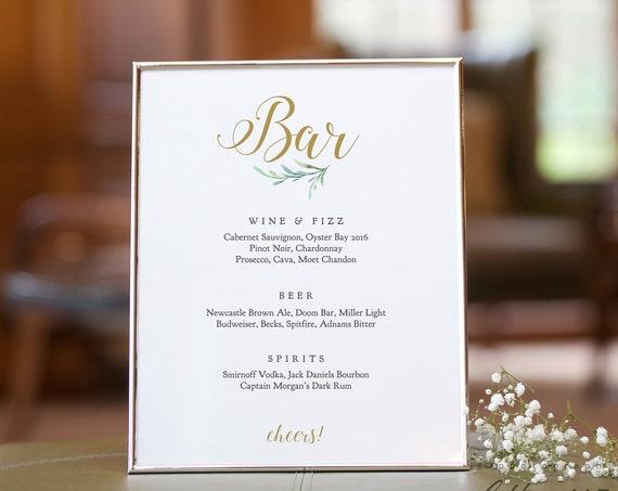 "Wedding Bar Signs in 8 sizes, Printable Bar Menu Templates, incl 5x7"", 8x10"", 16x20"" 'Greenery', Wedding Signage. Corjl Template, FREE demo"