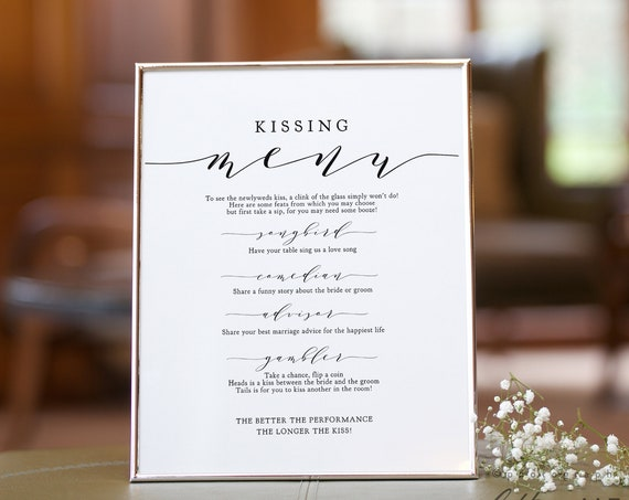 "Wedding Kissing Game, Kissing Wedding Game, Printable Template, 8x10"", 16x20"" & 18x24"", ""Wedding"" Corjl FREE Demo"