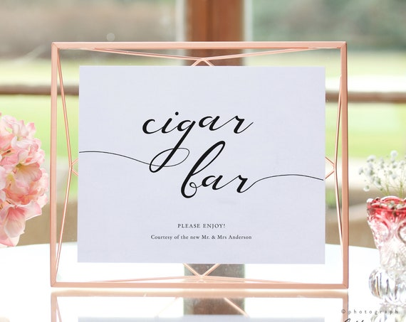 Lucy - Cigar Bar Sign, Printable Cigars Signs, With or Without Message, Wedding Cigar Bar Sign, Corjl Templates, FREE Demo