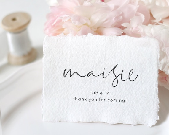 "Moderna - Modern Elegant Name Place Cards, Flat Wedding Place Cards 3x2"", Place Card Printable Template Corjl, FREE Demo"