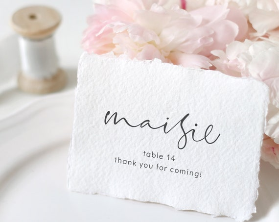 """Moderna - Modern Elegant Name Place Cards, Flat Wedding Place Cards 3x2"""", Place Card Printable Template Corjl, FREE Demo"""