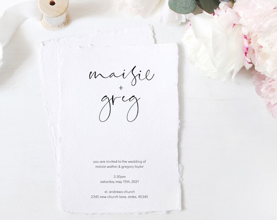 "Moderna - Modern Minimalist Wedding Invitation, Simple and Elegant Invitations, 4x5.5"", 5x7"", A6 & A5, Corjl, FREE Demo"