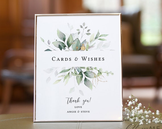 "Leaf & Gold - Wedding Cards and Wishes Sign, Greenery Wedding Cards, Garden Wedding Signs, 8x10"", Corjl Templates, FREE Demo"