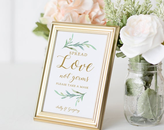 """Spread Love Not Germs, Masks Covid Aware Wedding Signs, Printable Masks Sign """"Greenery"""" 5x7"""" & 8x10"""" Corjl Template, FREE Demo"""