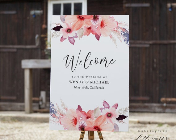 "Floral Welcome Wedding Sign, Printable Welcome Sign Template, Corjl Template, FREE Demo, ""Angie"" 16x20"", 18x24"", 24x36"", A1, A2"