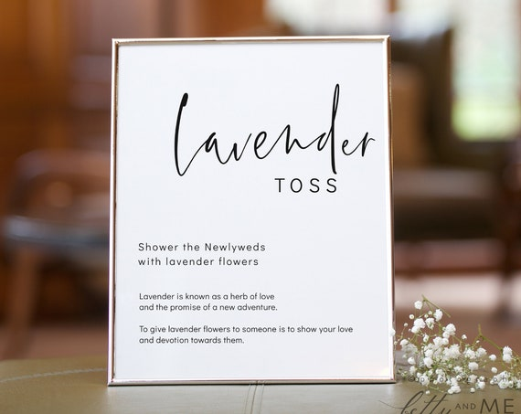 "Moderna - Lavender Toss Sign, Lavender Wedding Shower, Minimalist Wedding Sign, Printable Templates 5x7"" & 8x10"" Templates, Corjl, FREE Demo"