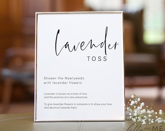 "Modern - Lavender Toss Sign, Lavender Wedding Shower, Minimalist Wedding Sign, Printable Templates 5x7"" & 8x10"" Templates, Corjl, FREE Demo"