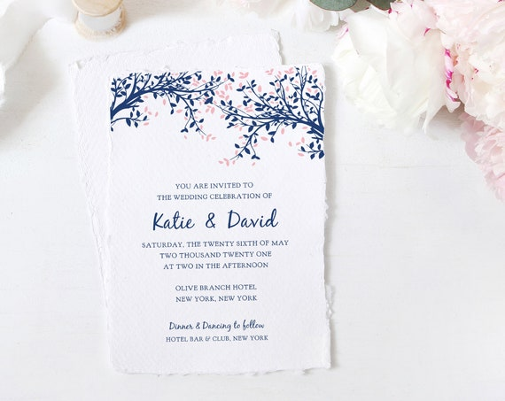 "Printable Tree Invitation Template, Navy & Pink Leaves Wedding Invitation, 5x7"", ""Leaves"", Corjl FREE Demo"