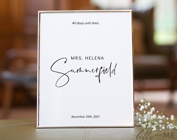 "Moderna - Minimalist Bridal Shower Countdown Sign, Days Until She's Mrs Printable Template in 4x6"", 5x7"" & 8x10"", Corjl Templates, FREE Demo"