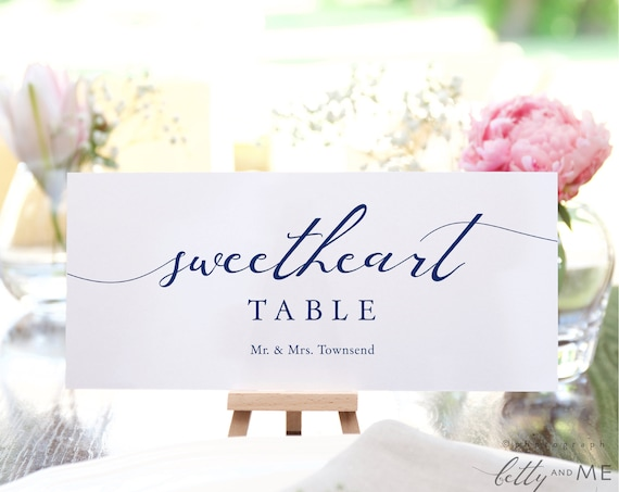 LucyNavy - Sweetheart Table Seating Card Templates, Make your own Navy Blue Seating Plan Cards, Corjl Templates, FREE demo