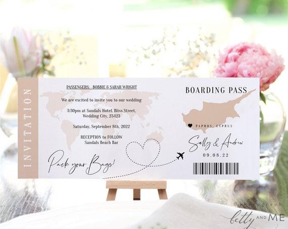 Destination - Cyprus Boarding Pass Wedding Invitation, Printable Wedding Invitation Template Destination Wedding, Corjl Templates, FREE Demo
