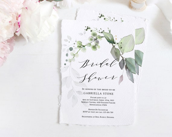 Leaf & Gold - Bridal Shower Invitations, Greenery Shower Invitation Cards, Corjl Templates, FREE Demo