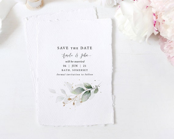 "Leaf & Gold - Save the Dates, Minimal Save the Date Cards, Botanical, 5x7"", 4x5.5"", A6, Corjl Templates, FREE Demo"