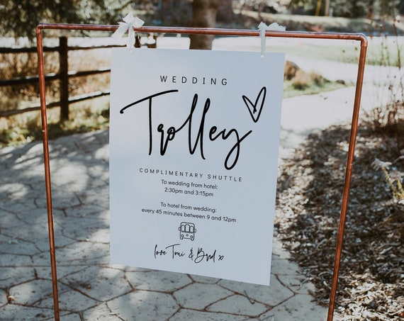 Wedding Trolley Shuttle Sign in 7 sizes, Printable Wedding Trolley Signs, Wedding to Hotel Transport Signs, Corjl Template, FREE Demo | 88