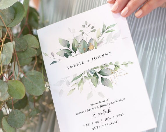 Leaf & Gold - Folded Wedding Program Booklets, Printable Greenery Wedding Order of Service Booklets, Corjl Templates, FREE Demo