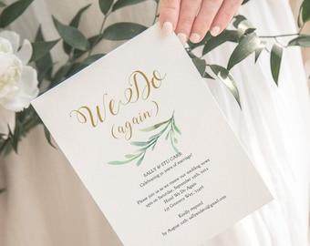 Vow Renewal Invitation Template Wedding Anniversary We Do Again, We Still Do, DIY Printable Invite, 'Greenery', Corjl Template, FREE Demo
