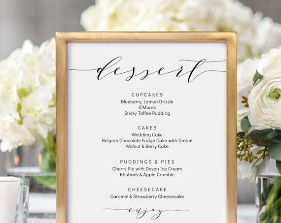 "Dessert Menu Printable Sign, DIY Wedding Dessert Menu 4x6"", 5x7"", 8x10"" ""Wedding"", Corjl Template, FREE Demo"