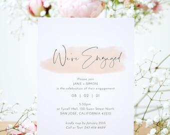 "Blush - Modern Minimalist Engagement Party Invitations with a Blush Watercolour Stroke, Blush Wedding, 5x7"", Corjl Templates, FREE Demo"
