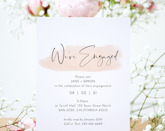 "Blush - Modern Minimalist Engagement Party Invitations with a Blush Watercolour Stroke, Blush Wedding, 5x7"", Corjl Templates, FREE Demo"