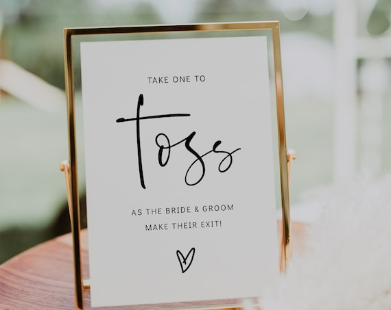 Flower Petal Toss Sign, Printable Wedding Sign, as the bride and groom make their exit, 3 sizes, Corjl Template, FREE demo | 86