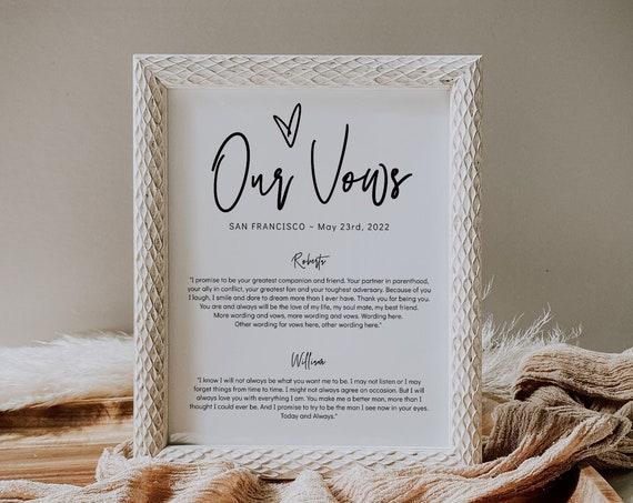 Wedding Vows Print Template, 3 sizes, 2 Versions, Printable Wedding Vows, Wedding Keepsake, His Her Vows, Corjl Template, FREE demo | 88