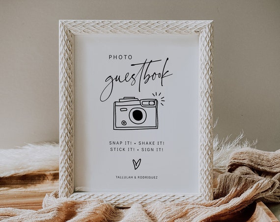 Editable Photo Guest Book Sign, Printable Wedding Guest Book Sign, Modern Minimalist Wedding Sign, 3 Sizes, Corjl Template, FREE demo | 86